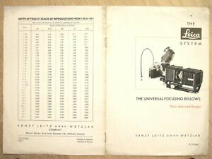 The Leica System UNIVERSAL FOCUSING BELLOWS Use & Scope BROCHURE 1956 English