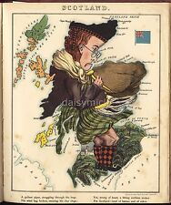 Satire Map of Scotland 1868 , Reprint 9x8 Inch