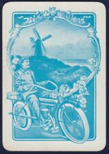 Playing Cards Single Card Old Antique Wide Motorbike Motorcycle Man Riding Bike