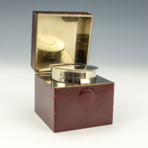 Antique Burgundy Textured Leather Covered - Miniature Travel Inkwell Ink Bottle