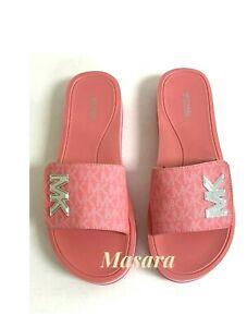 Women MK Michael Kors MK Platform Slide Sandals Tea Rose