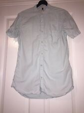 Mens River Island Spearmint Blue Short Sleeve Shirt With Grandad Collar - Size S