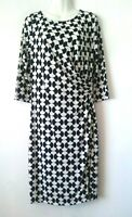 WOMEN'S TALBOTS BLACK AND WHITE PRINT 3/4 SLEEVE STRETCHY DRESS SIZE M