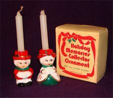 "Vtg Xmas Olde Time Caroler Candle Holder Set Holiday Memories Collection 2 1/2"""