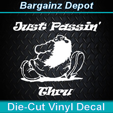 Vinyl Decal .. JUST PASSIN' THRU  Awesome 70'S Hippie Laptop Car Vinyl Decal