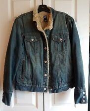 GAP Faux Fur Lined Denim Jacket Women's Size Large Distressed Jean Trucker