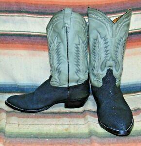 Mens Tony Lama Black Stingray Gray Leather Cowboy Boots 14 E Very Good Used Cond