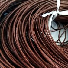 LOT de 3 mètres - 3m LACET fil  CORDON vrai CUIR 1,5mm CHOCOLAT création bijoux