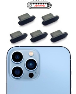 5x CHARGING PORT DUST GUARD PLUG STOPPER BLACK SILICONE for IPHONE 13 PRO MAX