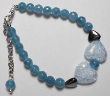 """Blue Quartz + Hematite beaded 7"""" bracelet + extender chain, hearts"""