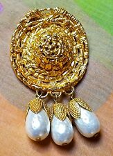 ~FAB! VTG Dominique Aurientis Paris Gold Plated Sombrero Pearl BROOCH Signed
