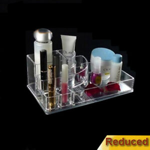 Clear Acrylic Make up Box Organiser Cosmetic Display Storage Jewellery Case NEW