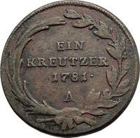 1781 AUSTRIA w Queen Maria Theresa Genuine Antique Kreuzer Austrian Coin i74568