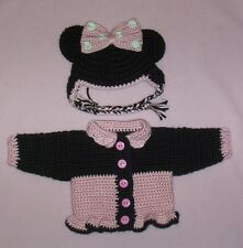 Dolls Clothes Pinks Minnie Mouse Sweater & Hat Fits Bitty Baby/Berenguer 15-17