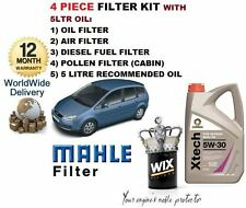 FOR FORD FOCUS C MAX 2.0 2003-2008 5L OIL & OIL AIR FUEL POLLEN FILTER SERVICE