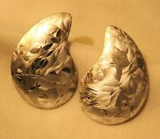 Shiny Splotched Feathery Textured Kidney Shaped Silvertone PIERCED Earrings