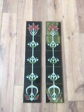 Victorian Cast Iron Fireplace Tile Set Liberty Green/Burgundy Design