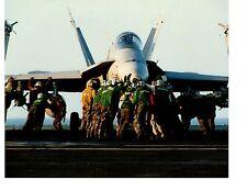 Boeing F18 Hornet Navy Fighter Aircraft Photo 8x10 On Deck USS C. Vinson CVN70