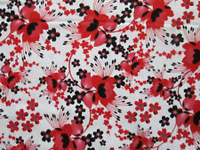 MOON FLOWERS RED BLACK FLOWERS WHITE COTTON FABRIC FQ