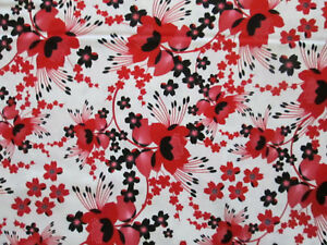 MOON FLOWERS RED BLACK FLOWER STUNNING WHITE COTTON FABRIC FQ