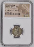AD 253-260 Silver Double Denarius Roman Coin NGC - Roman Age of Chaos