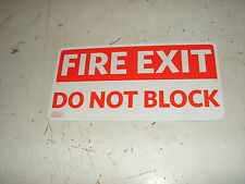"""Fire Exit Do Not Block Metal Sign ~ 12""""W x 6""""H  W/ Mounting Holes  Safety Exits"""
