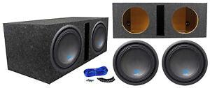"""(2) ALPINE S-W10D4 10"""" 1800 Watt Car Audio Subwoofers+Vented Sub Box Enclosure"""