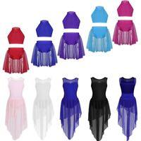 Girl Dance Ballet Jazz Dress Sleeveless Crop Top+Skirt Lyrical Dancewear Costume