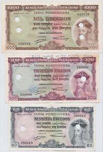 RARE PORTUGAL - INDIA BANKNOTES - 60 / 300 / 1000 ESCUDOS 1959 XF 🇮🇳