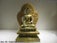 Tibetan Buddhism 100% Pure Bronze 24K Gold Gild Amitayus Sakyamuni Buddha Statue