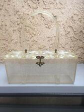 Vintage Clear w/gold flecks Acrylic Lucite rectangle Box Purse 40's/50's handbag