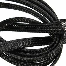 Braided Expandable Cable Loom Auto Harness Wire Sleeving Sheathing 6mm BLACK 5m