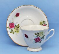 VINTAGE CHINESE PORCELAIN  CUP AND SAUCER WHITE FLORAL GOLD