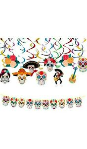 alloween Day of The Dead Party Decoration Set - Colourful Swirls & Sugar Skulls