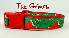 "The Grinch dog collar handmade adjustable buckle 1"" or 5/8"" wide or leash Xmas"