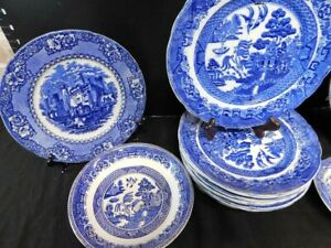 Flow Blue Dishes - Spode, Alhambra, Blue Willow Churchill, Ye Olde Willow