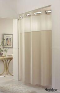 Shower Curtain Hookless, Buttermilk Colour, Chrome Eyelets178 (w) x 196 (d)
