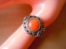 Antiker 835 Silber Ring mit Lachskoralle,Koralle 4,4 g/RG 54