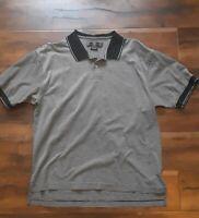 Nike Mens Golf Black and White Striped Cotton Polo Golf Shirt Size XL