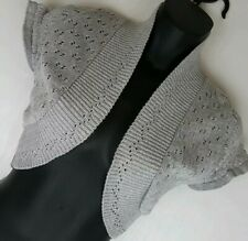 Quiz shrug  size 10 silver grey  cropped cardigan stretch knit sparkle Vgc