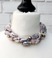 Keshi Biwa Perlen Collier Unikat Perlen Kette Biwa Perlen Süßwasser Perlen 4636