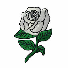 Embroidered White Rose Sew or Iron on Patch Biker Patch