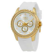 Invicta Angel Multi-Function Silver Dial White Polyurethane Ladies Watch 21900