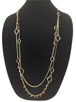"CHICO'S Gold Brass Tone ARTISAN DUEL STRAND 35"" NECKLACE Boho Earthy"