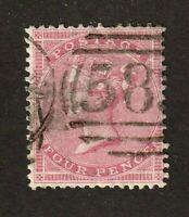 Great Britain stamp #26, used, 1857, Queen Victoria, 4p rose, wmk. 23, SCV $125