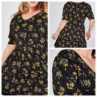 YOURS Ladies Black Mix Dress Size 22/24 Floral Stretchy Jersey Short Sleeve NEW