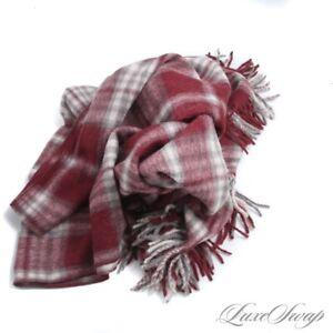 NIB Lanficio de Peru Alpaca Wool Cranberry Grey Shag Tartan Plaid Throw Blanket