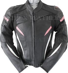 Ladies Motorcycle Leather Jacket Women Black White Pink Purple Racing Jacket