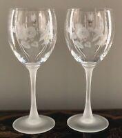 "Avon HUMMINGBIRD Frosted Stem 7 3/8"" Wine Glasses Set of 2 NEW!!!!"