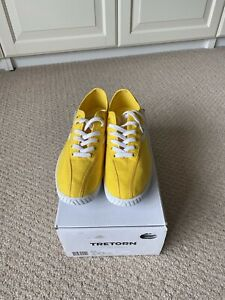 Tretorn Nylite Canvas Trainers Yellow And White Size 6. 5 Eur 40 New In Box.